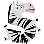 "40"" ANIMALOONS LARGE NUMBER 5 FOIL ZEBRA"