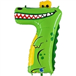 "40"" ANIMALOONS LARGE NUMBER 7 FOIL CROCODILE"