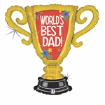 "33"" WORLD'S BEST DAD TROPHY FOIL"