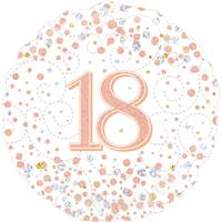 "18"" ROUND AGE 18 SPARKLING FIZZ BIRTHDAY WHITE & ROSE GOLD HOLOGRAPHIC FOIL"
