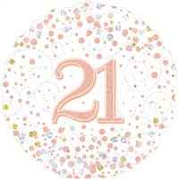"18"" ROUND AGE 21  SPARKLING FIZZ BIRTHDAY WHITE & ROSE GOLD HOLOGRAPHIC FOIL"