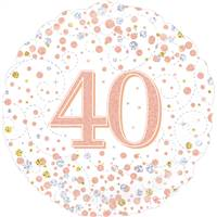 "18"" ROUND AGE 40 SPARKLING FIZZ BIRTHDAY WHITE & ROSE GOLD HOLOGRAPHIC FOIL"