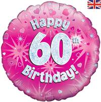 "18"" HAPPY 60TH BIRTHDAY PINK HOLOGRAPHIC FOIL"