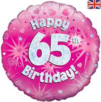 "18"" HAPPY 65TH BIRTHDAY PINK HOLOGRAPHIC FOIL"