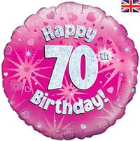 "18"" HAPPY 70TH BIRTHDAY PINK HOLOGRAPHIC FOIL"