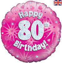 "18"" HAPPY 80TH BIRTHDAY PINK HOLOGRAPHIC FOIL"