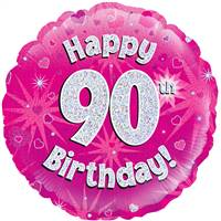 "18"" HAPPY 90TH BIRTHDAY PINK HOLOGRAPHIC FOIL"