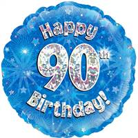 "18"" HAPPY 90TH BIRTHDAY BLUE HOLOGRAPHIC FOIL"
