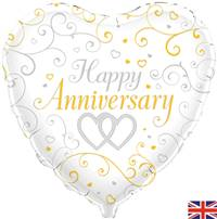 "18"" HAPPY ANNIVERSARY LINKED HEARTS FOIL"