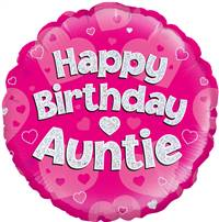 "18"" HAPPY BIRTHDAY AUNTIE PINK HOLOGRAPHIC FOIL"