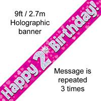 9FT BANNER HAPPY 2ND BIRTHDAY PINK HOLOGRAPHIC