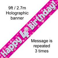 9FT BANNER HAPPY 4TH BIRTHDAY PINK HOLOGRAPHIC