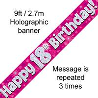 9FT BANNER HAPPY 18TH BIRTHDAY PINK HOLOGRAPHIC