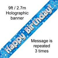 9FT BANNER HAPPY BIRTHDAY BLUE HOLOGRAPHIC