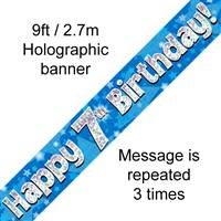 9FT BANNER HAPPY 7TH BIRTHDAY BLUE HOLOGRAPHIC