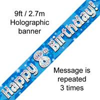 9FT BANNER HAPPY 8TH BIRTHDAY BLUE HOLOGRAPHIC