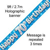 9FT BANNER HAPPY 70TH BIRTHDAY BLUE HOLOGRAPHIC