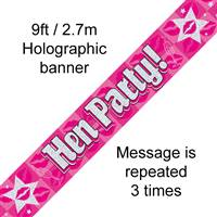 BANNER 9FT HEN PARTY HOLOGRAPHIC