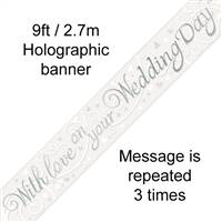 BANNER 9FT WITH LOVE ON YOUR WEDDING DAY METALLIC
