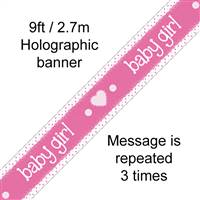 BANNER 9FT IT'S A GIRL PASTEL HEART HOLOGRAPHIC DOT