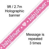 BANNER 9FT BABY SHOWER PINK HOLOGRAPHIC DOT