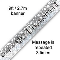 BANNER 9FT CONGRATULATIONS ON YOUR ENGAGEMENT ENTWINED HEARTS