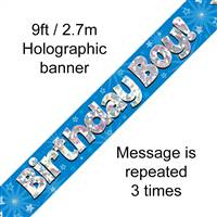 BANNER 9FT BIRTHDAY BOY BLUE HOLOGRAPHIC