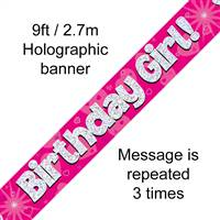BANNER 9FT BIRTHDAY GIRL PINK HOLOGRAPHIC