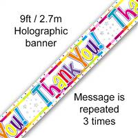 BANNER 9FT BIRTHDAY BRIGHT THANK YOU HOLOGRAPHIC