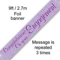 BANNER 9FT CONGRATULATIONS ON YOUR ENGAGEMENT