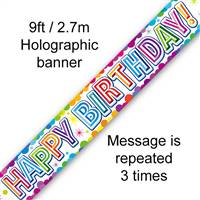 BANNER 9FT COLOURFUL CONFETTI BIRTHDAY METALLIC