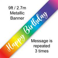 BANNER 9FT RAINBOW SCRIPT BIRTHDAY