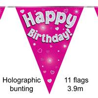BUNTING HAPPY BIRTHDAY PINK HOLOGRAPHIC 11 FLAGS 3.9M