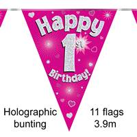 BUNTING HAPPY 1ST BIRTHDAY PINK HOLOGRAPHIC 11 FLAGS 3.9M