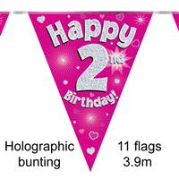 BUNTING HAPPY 2ND BIRTHDAY PINK HOLOGRAPHIC 11 FLAGS 3.9M