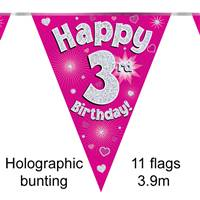 BUNTING HAPPY 3RD BIRTHDAY PINK HOLOGRAPHIC 11 FLAGS 3.9M
