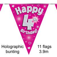 BUNTING HAPPY 4TH BIRTHDAY PINK HOLOGRAPHIC 11 FLAGS 3.9M