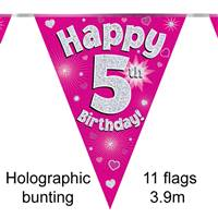 BUNTING HAPPY 5TH BIRTHDAY PINK HOLOGRAPHIC 11 FLAGS 3.9M