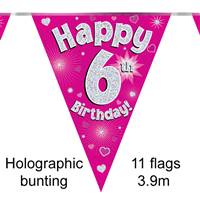 BUNTING HAPPY 6TH BIRTHDAY PINK HOLOGRAPHIC 11 FLAGS 3.9M