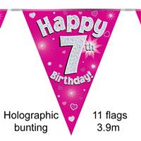 BUNTING HAPPY 7TH BIRTHDAY PINK HOLOGRAPHIC 11 FLAGS 3.9M