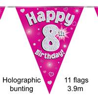 BUNTING HAPPY 8TH BIRTHDAY PINK HOLOGRAPHIC 11 FLAGS 3.9M