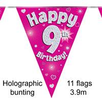BUNTING HAPPY 9TH BIRTHDAY PINK HOLOGRAPHIC 11 FLAGS 3.9M