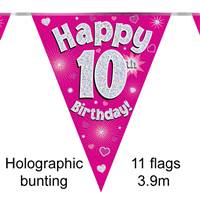 BUNTING HAPPY 10TH BIRTHDAY PINK HOLOGRAPHIC 11 FLAGS 3.9M