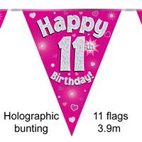 BUNTING HAPPY 11TH BIRTHDAY PINK HOLOGRAPHIC 11 FLAGS 3.9M