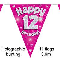 BUNTING HAPPY 12TH BIRTHDAY PINK HOLOGRAPHIC 11 FLAGS 3.9M