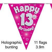 BUNTING HAPPY 13TH BIRTHDAY PINK HOLOGRAPHIC 11 FLAGS 3.9M
