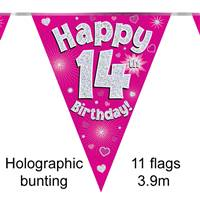 BUNTING HAPPY 14TH BIRTHDAY PINK HOLOGRAPHIC 11 FLAGS 3.9M
