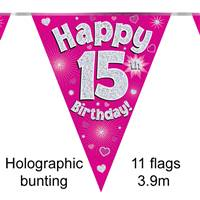 BUNTING HAPPY 15TH BIRTHDAY PINK HOLOGRAPHIC 11 FLAGS 3.9M