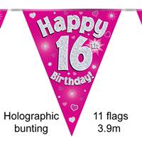 BUNTING HAPPY 16TH BIRTHDAY PINK HOLOGRAPHIC 11 FLAGS 3.9M