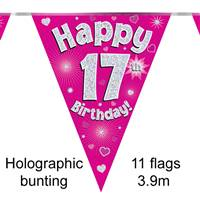 BUNTING HAPPY 17TH BIRTHDAY PINK HOLOGRAPHIC 11 FLAGS 3.9M